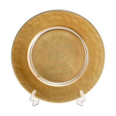 gold glass 50th anniversary plate with cross
