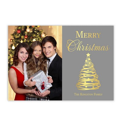 Gold Tree Family Photo Christmas Card