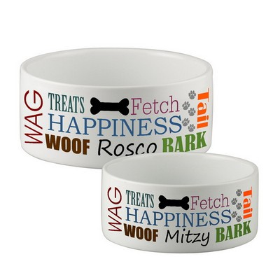 Happy Dog Personalized Dog Bowl