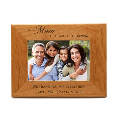 Heart of the Family Personalized 4x6 Wood Picture Frame for Mom