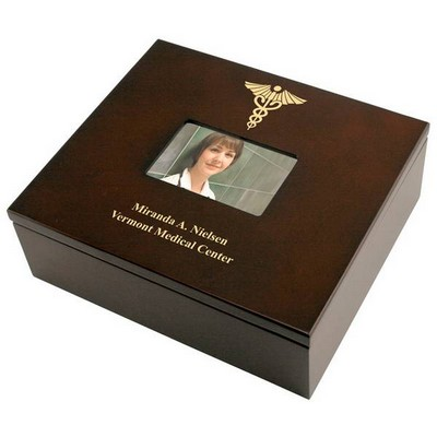 Personalized Keepsake Box with Caduceus for Doctors