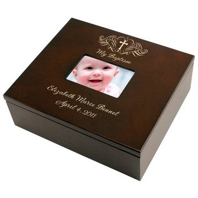 Holy Cross Baptism Personalized Keepsake Box with Frame