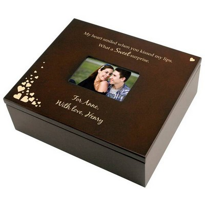 First Kiss Personalized Treasure Box with Photo Frame