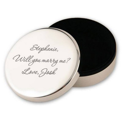Round Silver Plated Personalized Keepsake Box