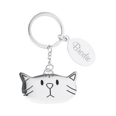 Personalized Metal Cat Key Chain