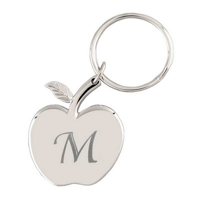 Silver Apple-shaped engraved key chain