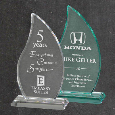 Personalized Flame Acrylic Award with Base