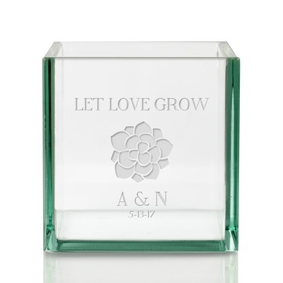 let love grow personalized square glass vase - Customized Valentines Day Gifts