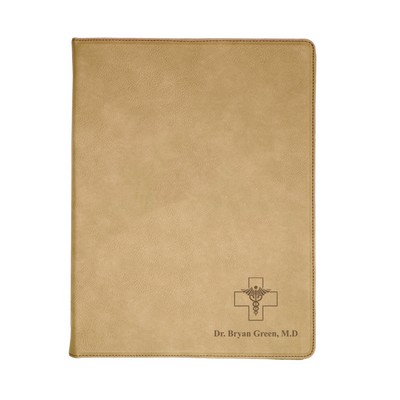 Light Brown Leatherette Personalized Portfolio with Notepad for Doctors