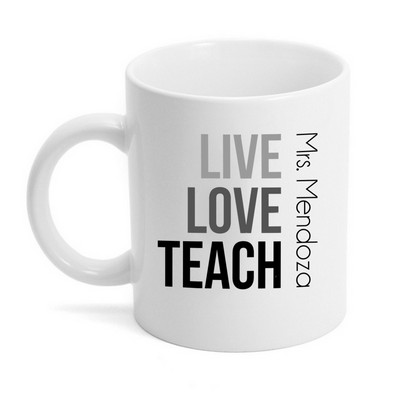 Live Love Teach Personalized Grey Ceramic Mug