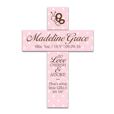 Love and Cherish Personalized Pink Polka Dot Wall Cross