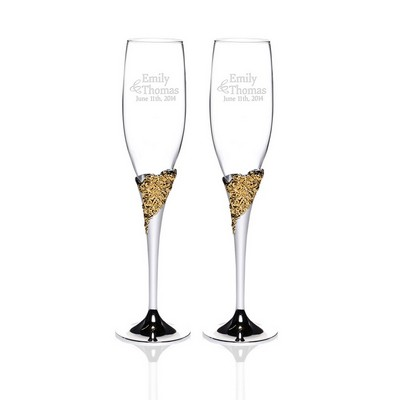 Personalized Marchesa Rose Lenox Crystal 2-piece Gold Plated Champagne Toasting Flute