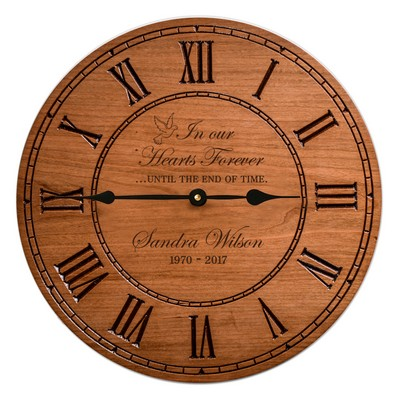 Memorial Cherry Wood Engraved Wall Clock