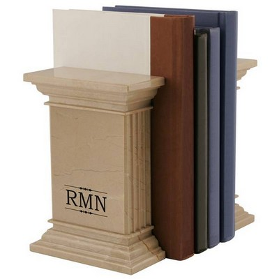 Monogram Natural Column Bookends