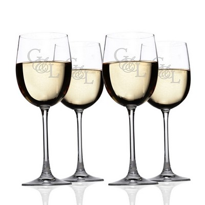 Monogrammed Lenox Crystal 4-piece Chardonnay Glass Set