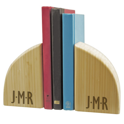 Monogrammed Solid Bamboo Bookends