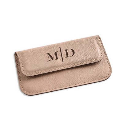 monogrammed tan leatherette business card case - Custom Business Card Holder