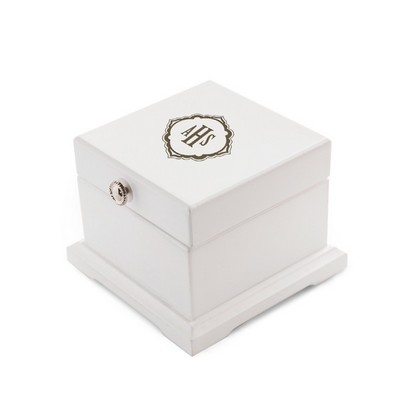 Monogrammed White Wood Hinged Jewelry Keepsake Box for Her