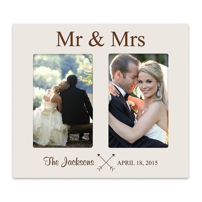Mr and Mrs Double 4x6 Personalized White Picture Frame