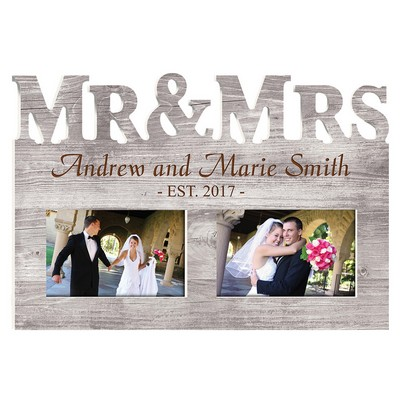 Mr and Mrs Faux Wood Pattern Personalized Picture Frame
