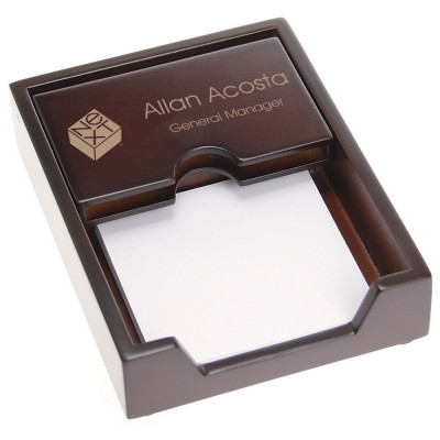 Office Desk Business Card Holder with Memo Pad