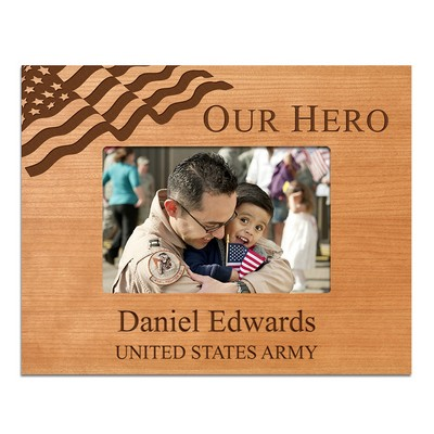Our Hero Personalized 4x6 Cherry Wood Picture Frame