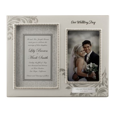 Our Wedding Day Engraved Double Photo Frame