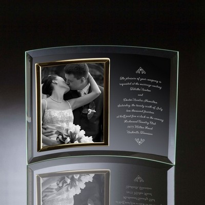 Wedding Invitation Curved Glass Vertical 8x10 Photo frame