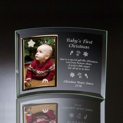 Babys First Christmas Curved Glass Vertical 4x6 Photo frame
