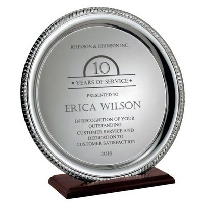 Personalized Years of Service Award Silver Plate on Wood Base
