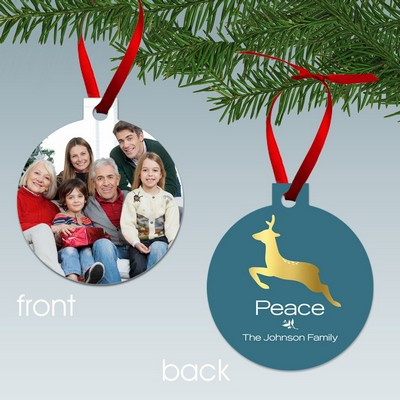 Peace Reindeer Personalized Family Photo Ornament