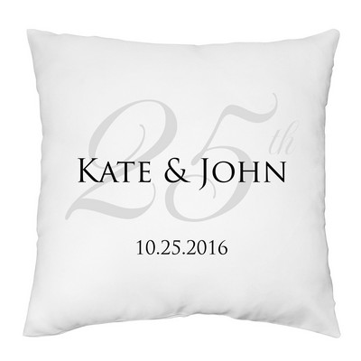 Personalized 25th Anniversary Decorative Pillow Case