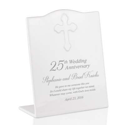 Personalized 25th Wedding Anniversary Ceramic Keepsake Plaque