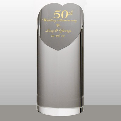 Personalized 50th Anniversary Crystal Heart