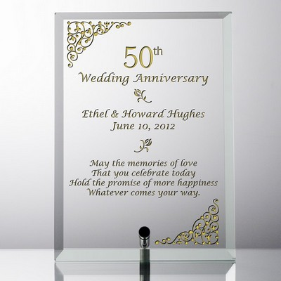 Personalized 50th Wedding Anniversary Glass Plaque