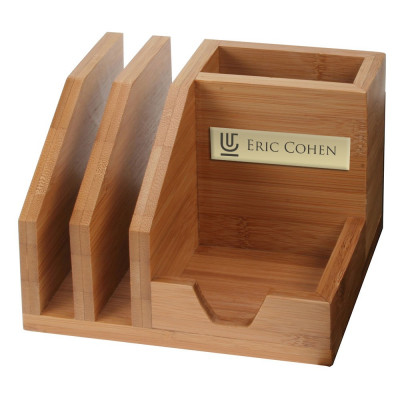 Personalized Bamboo Desk Organizer with Pencil Cup
