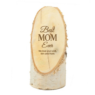 Best Mom Ever Personalized Natural Birch Wood Plaque