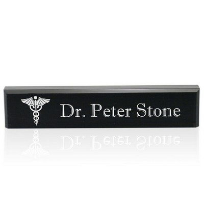 Personalized Black Acrylic Desk Name Plate for Doctors