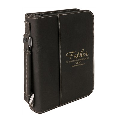 Personalized Black Leatherette Bible Cover with Handle for Dad