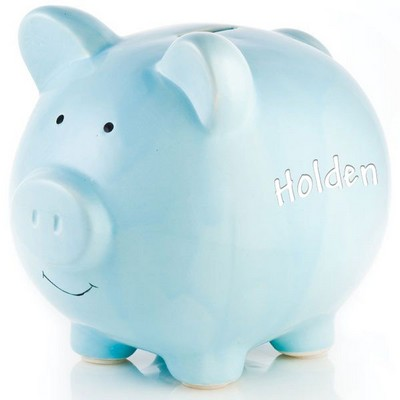 Personalized Blue Ceramic Piggy Bank