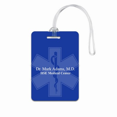 Personalized Blue Medical Luggage Tag with Rod of Asclepius