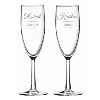 Personalized Bride and Groom Glass Toasting Flute Set