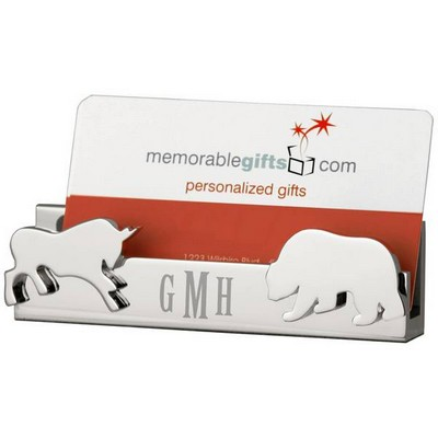 Personalized Bull and Bear Desktop Business Card Holder