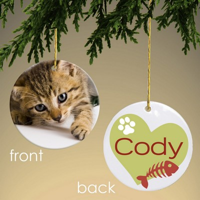 Personalized Fish Bones Cat Photo Ornament