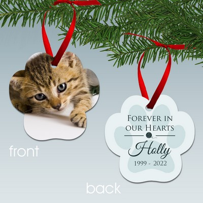 Personalized Cat Paw Print Memorial Photo Ornament