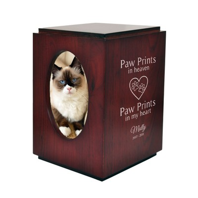 Personalized Cherry Finish Pet Urn with Oval Photo Frame