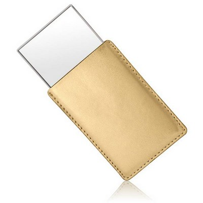 Personalized Compact Mirror in Gold Leatherette Pouch