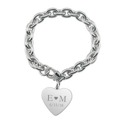 Personalized Couples Heart Charm Bracelet
