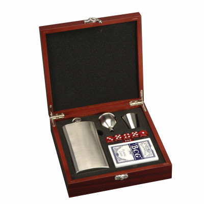 Personalized Flask and Playing Card Set in Rosewood Box
