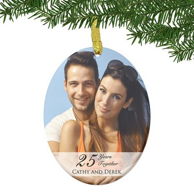 Personalized Glass 25th Anniversary Couples Photo Ornament
